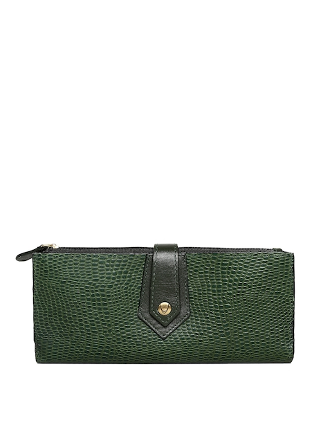 Hidesign Women Green Textured Two Fold Wallet