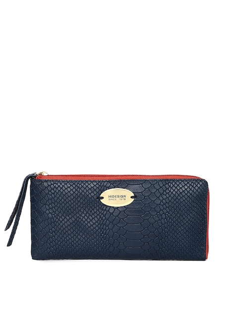 Hidesign Women Blue Textured Zip Around Wallet