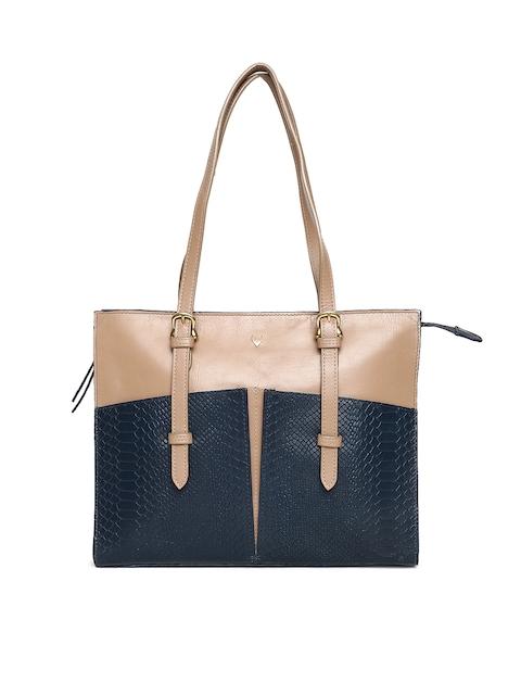 Hidesign Blue & Beige Colourblocked Shoulder Bag