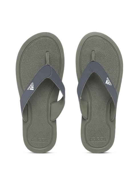 Adidas Men Navy Blue & Olive Green STABILE Solid Thong Flip-Flops