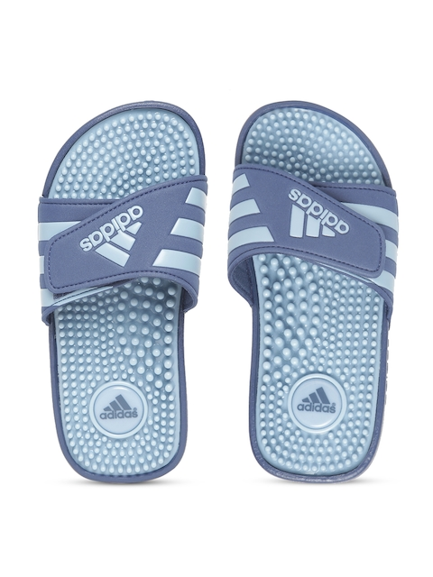ADIDAS Kids Blue Adissage Striped Sliders