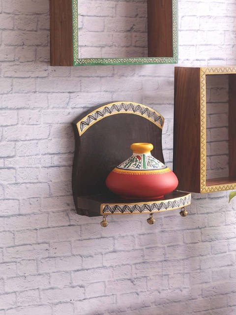VarEesha Brown Wood Basic Wall Shelf