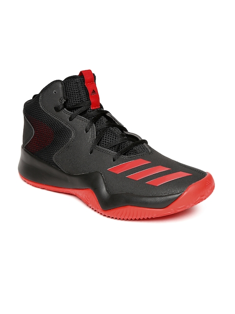 Adidas Men Black & Red Synthetic Mid-Top CRAZY TEAM II Basketball Shoes
