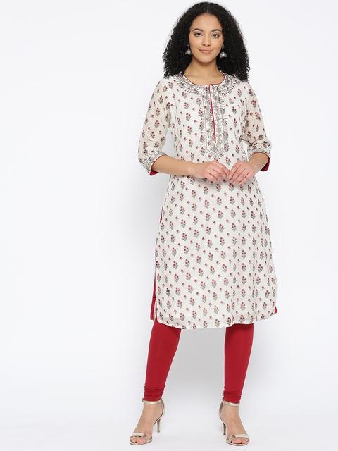 Biba Women Off-White & Maroon Printed Straight Kurta