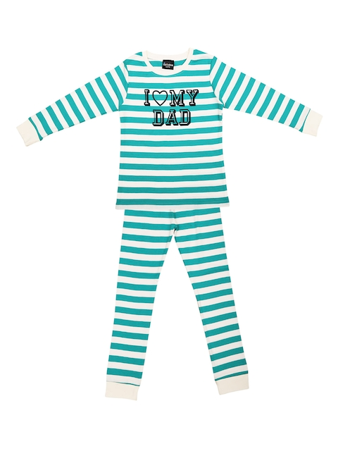 ventra Girls Green & White Striped Night Suit - VNT_0032
