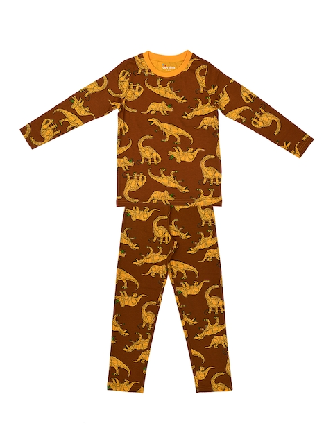 ventra Boys Yellow & Brown Printed Night Suit - VNT_0034