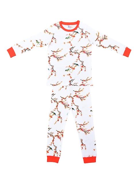 ventra Girls White & Orange Printed Night Suit - VNT_0035