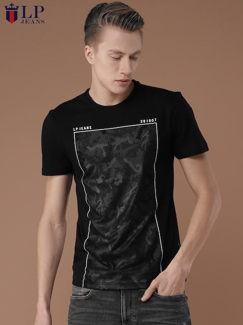 Louis Philippe Jeans Men Black Printed Round Neck T-shirt