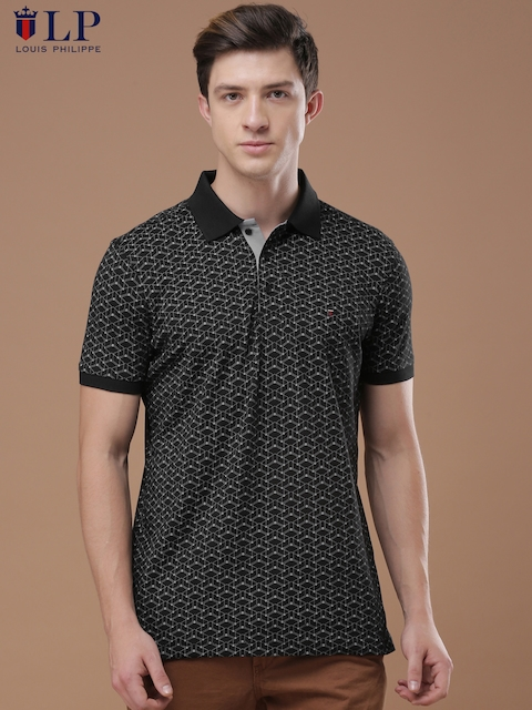 Louis Philippe Sport Men Black & Purple Printed Polo T-shirt