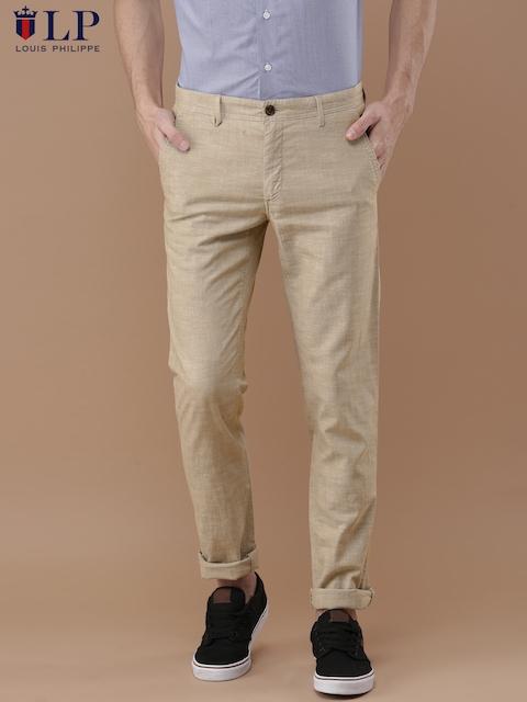 Louis Philippe Sport Men Beige Slim Fit Solid Regular Trousers