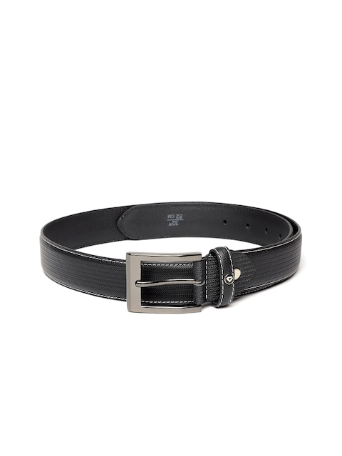INVICTUS Men Black Textured Leather Belt