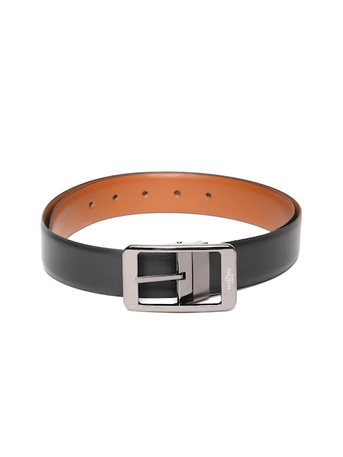 INVICTUS Men Black & Tan Brown Leather Reversible Belt