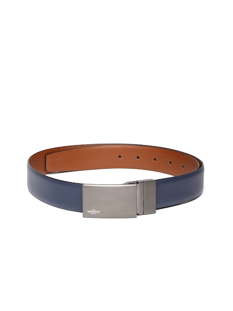 INVICTUS Men Navy & Tan Brown Solid Reversible Leather Belt