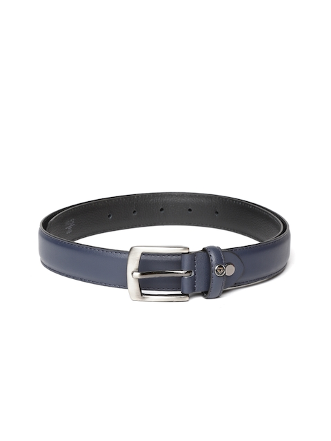 INVICTUS Men Navy Blue Solid Leather Belt