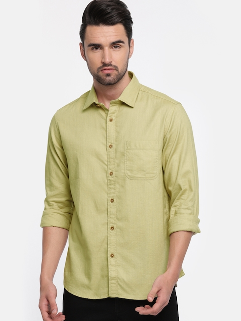 Indian Terrain Men Beige Regular Fit Solid Casual Shirt