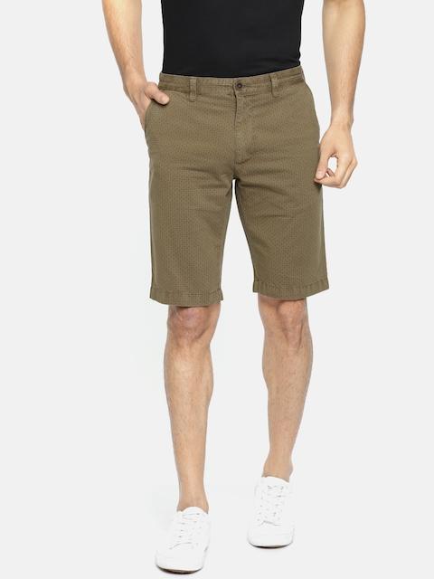 Indian Terrain Men Brown Printed Slim Fit Regular Shorts