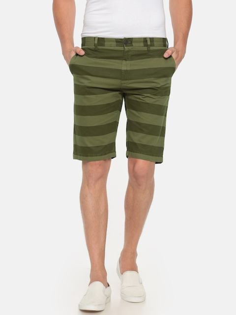 Indian Terrain Men Olive Green Striped Slim Fit Regular Shorts