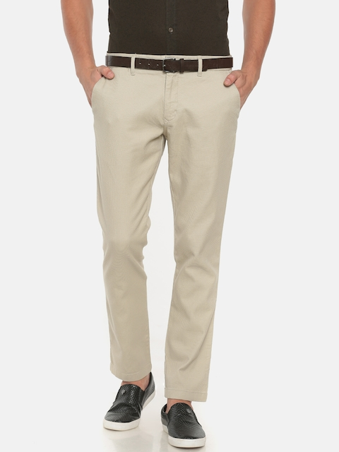 Indian Terrain Men Beige Slim Fit Self Design Regular Trousers