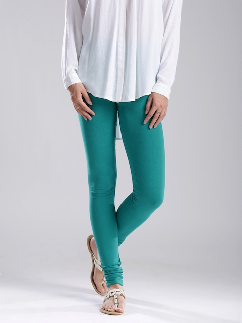 W Women Green Cotton Churidar Leggings  available at myntra for Rs.359