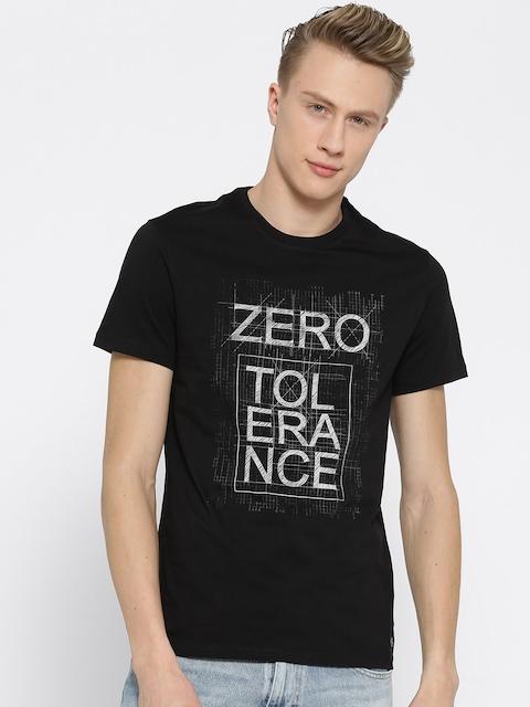 Peter England Casuals Men Black Printed Round Neck T-shirt