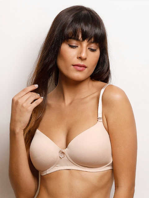 Zivame Beige Solid Non-Wired Lightly Padded T-shirt Bra PY1004CORE0NUDE
