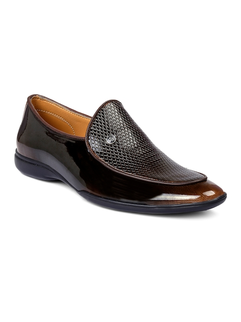 bacca bucci Men Brown Textured Slip-On Shoes