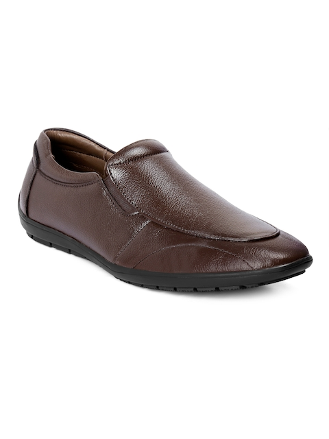 bacca bucci Men Brown Leather Slip-On Shoes
