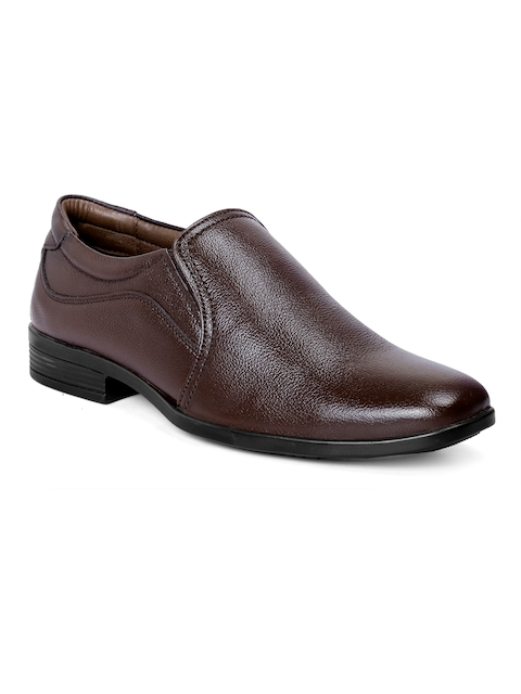 bacca bucci Men Brown Leather Formal Slip-On Shoes