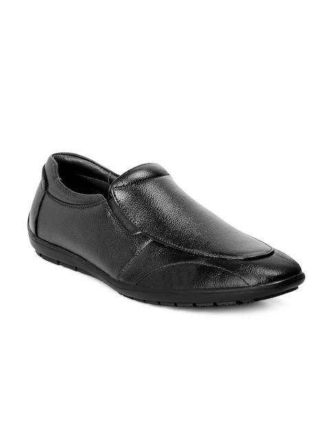 bacca bucci Men Black Leather Formal Slip-Ons