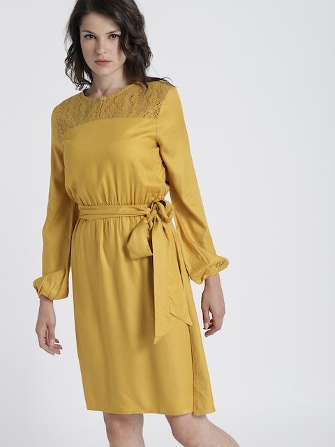 Chemistry Women Mustard Yellow Solid A-Line Dress