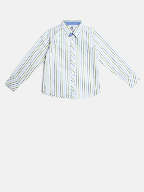 YK Boys White & Blue Regular Fit Striped Casual Shirt