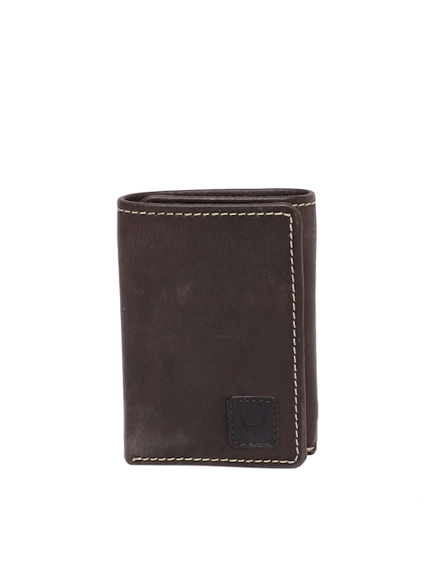 Hidesign Men Brown Solid Leather Three Fold Wallet