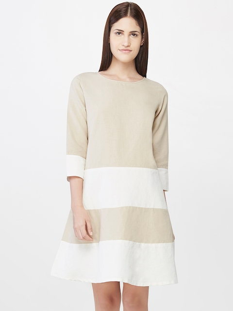AND Women Beige & Off-White Striped A-Line Dress