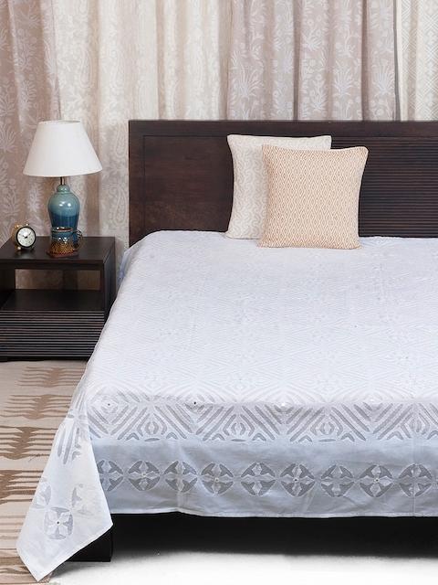 Fabindia White 120TC Cotton Single Bedsheet
