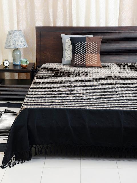 Fabindia Black 120TC Cotton Double King Bedsheet