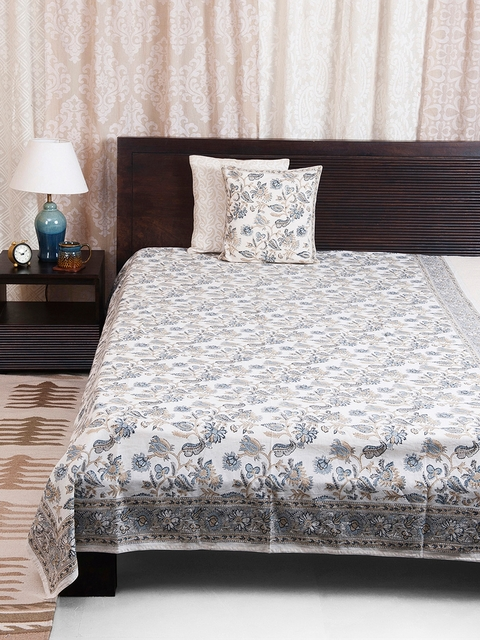 Fabindia Blue & Off White Cotton Flax Printed Bela Single Bed Cover