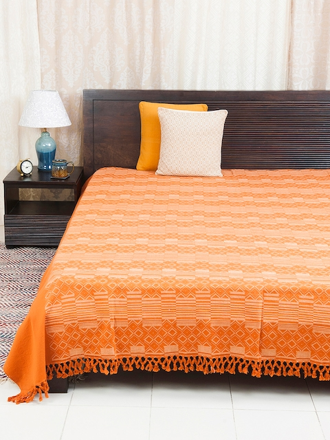 Fabindia Orange 120TC Cotton Double King Bedsheet