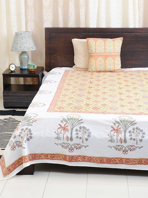 Fabindia Yellow 120TC Cotton Double King Bedsheet