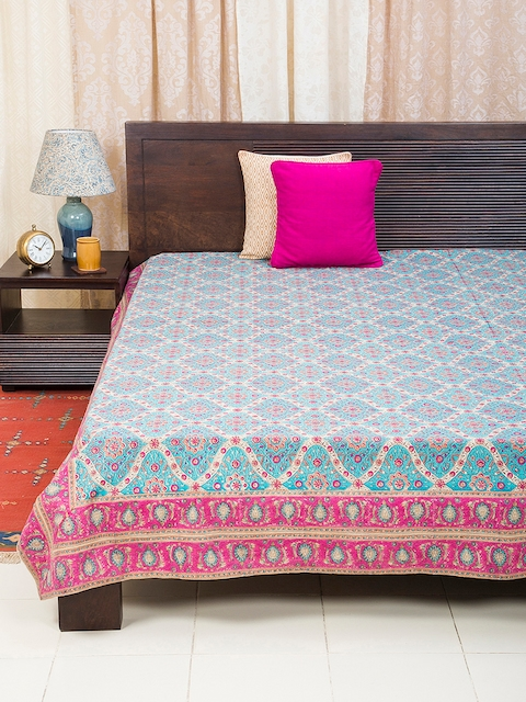 Fabindia Blue Cotton Double-King Size Bed Cover