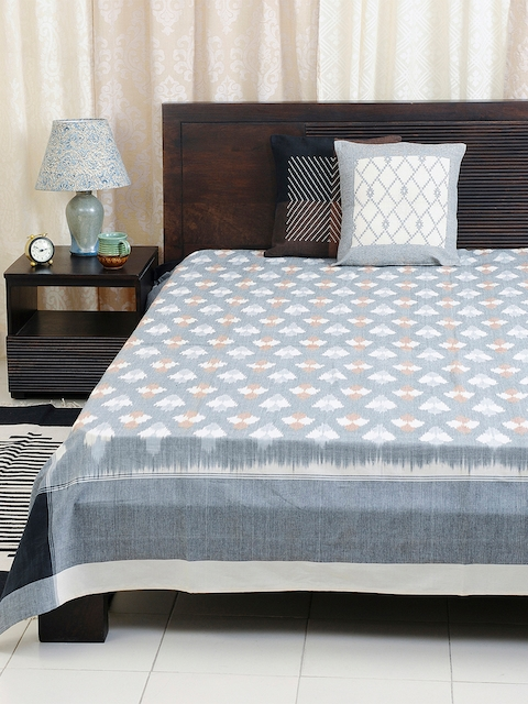 Fabindia Grey Cotton Double-King Size Bed Cover