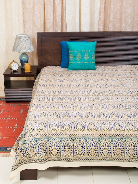 Fabindia Yellow & Blue 120TC Cotton Double King Bedsheet