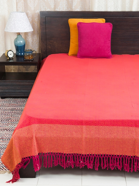 Fabindia Pink & Red 120TC Cotton Double King Bedsheet
