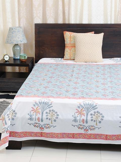 Fabindia Blue 120TC Cotton Single Bedsheet