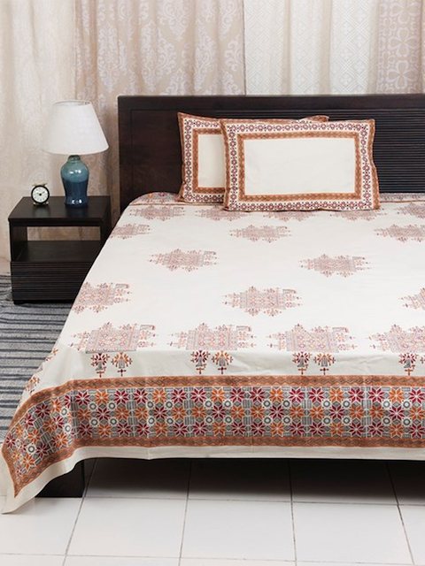 Fabindia Red Cotton Double-King Size Bed Cover