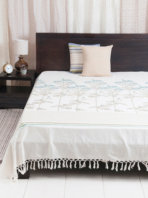 Fabindia Cream 120TC Cotton Double King Bedsheet