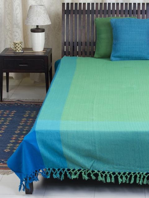 Fabindia Blue & Green 120TC Cotton Single Bedsheet