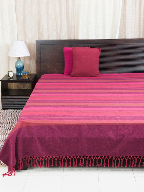 Fabindia Pink & Purple Woven Design Cotton Double Bed Cover