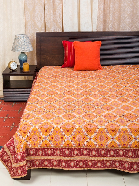 Fabindia Orange Cotton Double-King Size Bed Cover