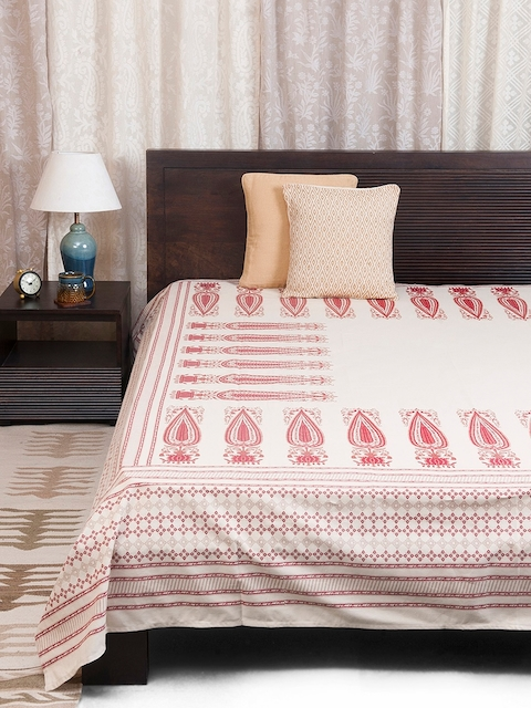 Fabindia Maroon Cotton Double-King Size Bed Cover