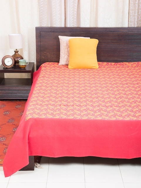 Fabindia Pink 120TC Cotton Double King Bedsheet